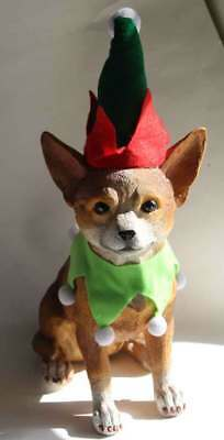 Elf Dog Statue Chihuahua Christmas with Box Real Looking Dog