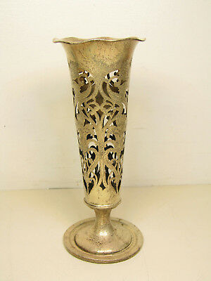 Vintage Sterling Silver Fancy Flower Cut Out Design Vase Engraved 11""