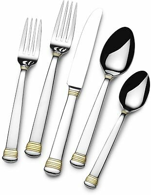 Flatware Set Stainless Steel 65 Piece 18/10 Service for 12 Gold Tone Accent NEW