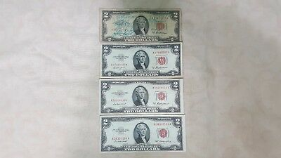 Four,1953  $2 Dollar Bill United States Legal Tender Red Seal