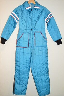 vintage 70s BLUE RED WHITE STRIPED ONE PIECE SNOWMOBILE SKI SKIING SUIT YOUTH L