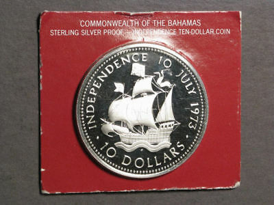 BAHAMAS 1973 $10 Ship Large Silver Proof in Cardboard Holder