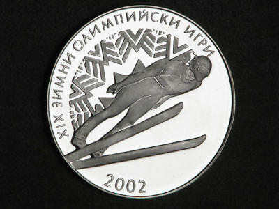 BULGARIA 2001 10 Leva Olympic Skier Silver Crown Choice Proof