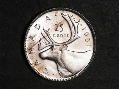 CANADA 1951 25 Cents Silver Choice BU