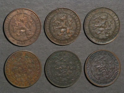 NETHERLANDS 1904-1929 2 1/2 Cents - 6 Coins/Dates Avg. VF