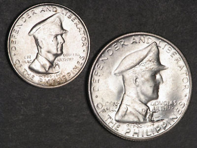 PHILIPPINES 1947S 50 Centavos - 1 Peso MacArthur Silver UNC - 2 Coins