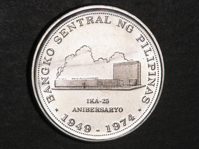 PHILIPPINES 1974 25 Piso Bank Anniversary Silver Crown UNC