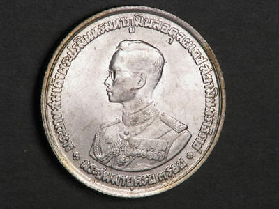 THAILAND 1963 20 Baht King Bhumiphol B-day Silver UNC