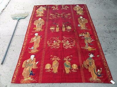 Large 7ft Antique Chinese Qing Silk & Gilt Embroidery Panel - 8 Daoist Immortals