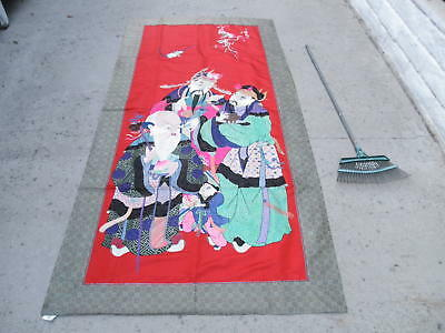 Large 8 ft long Chinese Vintage Silk Embroidery Panel - 3 STARS GODS & bats
