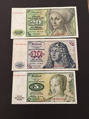 5,10,20 Mark  GERMANY PRE EURO CURRENCY  BANKNOTES ,SCARCE!!!!!