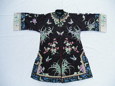 Very Fine Antique Chinese Embroidery Lady's Purple Robe - Narcissus Butterfly