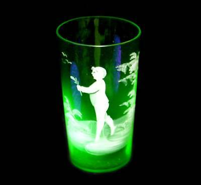 Vintage Mary Gregory hand painted uranium glass beaker
