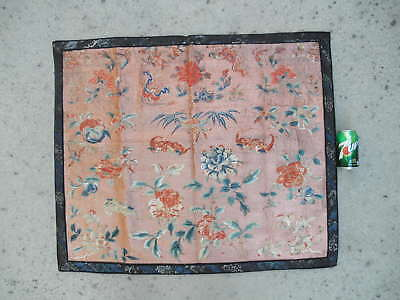 """Antique Chinese Qing """"Full"""" Embroidery Mat/Panel - Bats Peony Bamboo Lingzhi"""