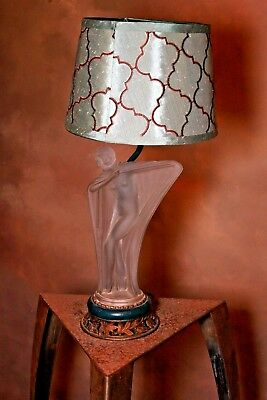 art deco lamp  with semiclad girl opaque  glass