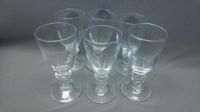 Antique Thick Hand Blown Glass Georgian Wine Water Goblets Set of 6 Cups Glasses