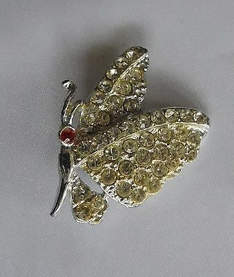Rhinestone Butterfly Insect Pin Brooch Vintage Lot B10