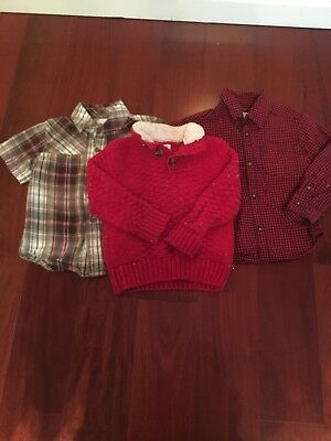 ❤️VGUC❤️Lot of 3 Boys Holiday Tops Cat & Jack Carters Old Navy❤️Sz 3T