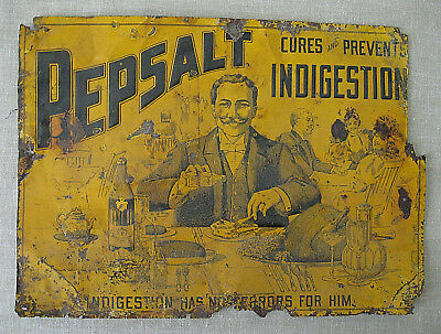 """""""Pepsalt"""" Indigestion Cure  /  tin sign  /  c.1900  /  """"as is"""""""