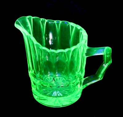 Vintage small uranium green glass glowing cream jug in lovely condition