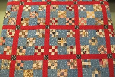 FULL Vintage ANTIQUE Hand Sewn Pre Feed Sack Era Double NINE PATCH Thick QUILT