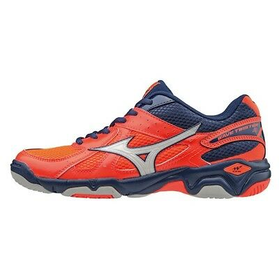 Mizuno Wave Twister 4 Netball Shoes - Fiery Coral/White/Blue Depths - UK 4.5