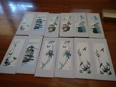 Antique Chinese Silk Embroidery Art 12 Pictures Rare One of a Kind with BOX