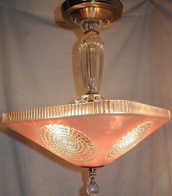 Vtg 30S Antique Art Deco Ceiling Light Fixture Chandelier Pink Clear Glass Shade