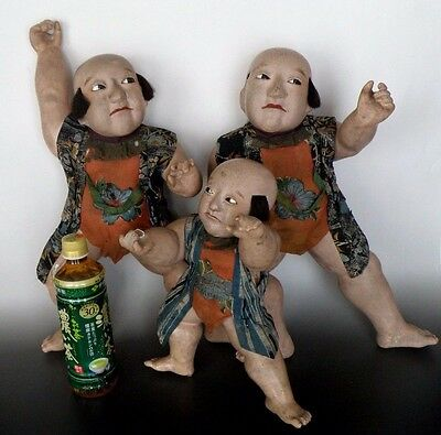 Lot of 3 Antique Japanese Gofun Clay Papier Mache Boy Dolls Edo Period 1800's