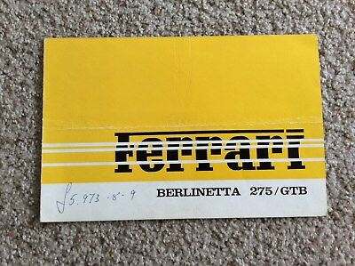 1960s ferrari berlinetta 275/GTB  original factory printed dealership sales hand