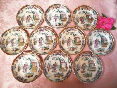 Antique Sweets Bowls X10 Gildea & Walker C1881-85 Chinoiserie Chinese Pagoda