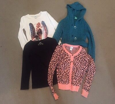Girls Size 8 Spring Tops And Cardigan Bundle Bulk Jumpers Pumpkin Patch, Leopard