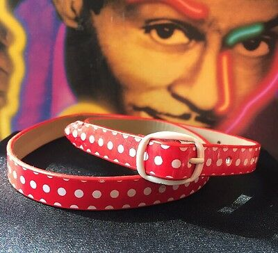 Retro rockabilly Fab shiny red white polka dot Skinny Belt XXS