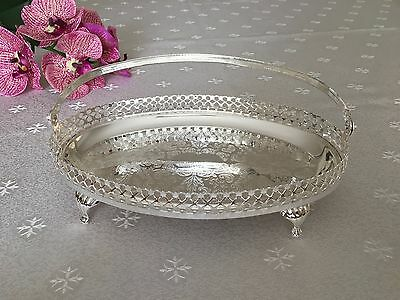 Queen Anne Silver Plated Small Oval Gallery Tray- CHRISTMAS GIFT