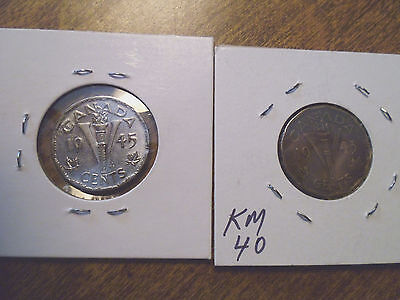 2 Canada, V Nickels, World War Two, One UNC, One Brass, George VI, 1943, 1945