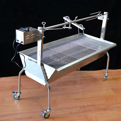 New Electric Charcoal Roaster Spit Rotisserie Stainless Steel BBQ Grill #2088