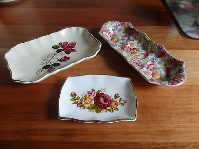 3 Collectable Small China Trays . James Kent- Du Barry , Sandland & Ashley Dale