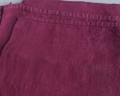 Vintage French Fabric Woven Fruits Rouge Berry Pink organic linen textile cutter