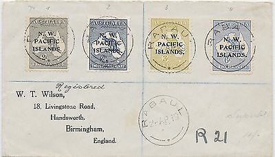 NEUGUINEA N.W.PACIFIC ISLDS. 191, regist.RABAUL to London, bearing 4 values