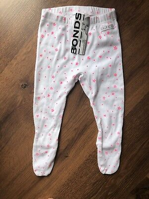 Bonds Baby Girls Leggings White With Pink Stars Brand New With Tags 00