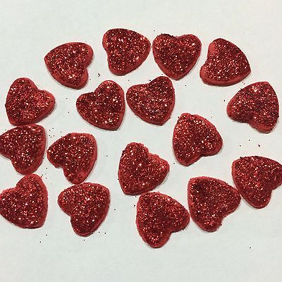 Edible Sugar Love Hearts With Edible Glitter Wedding Cake/ Cup Cake Toppers X 15