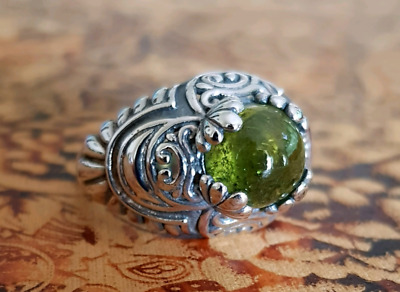 Cabachon Green Tourmaline Ring, Size 9 3/4 US, Silver, Earth Rock