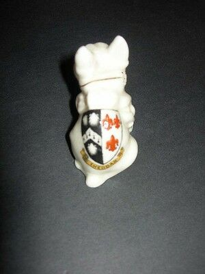 CARLTON W&R Stoke on Trent Vintage CRESTED CHINA Bull Dog CHEDDAR Coat of Arms