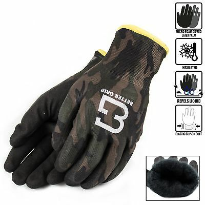 Safety Double Lining Rubber Coated Work Gloves Winter Insulated Large Brown