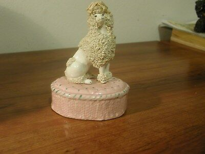 White Spaghetti Poodle On Pink Stand - Looks Great