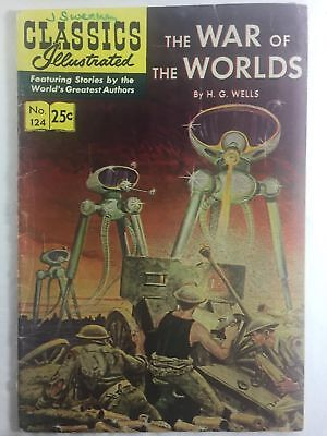 1955 Classics Illustrated #124 WAR OF THE WORLDS by H.G. Wells - GREAT COVER!