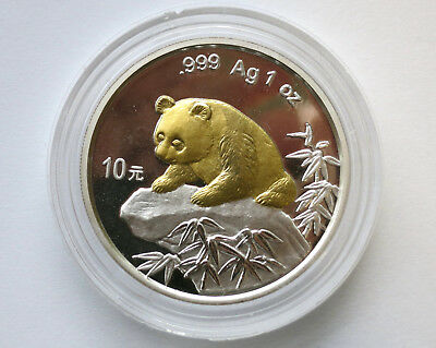 10 Yuan China 1999 - Original China Panda 1999 mit Goldauflage  / Rar  !!