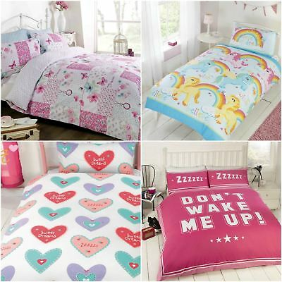 Rapport Girls Childrens Kids Single Double Duvet Cover Pink Floral Bright