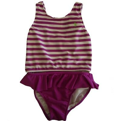 Authentic Ralph lauren Polo Baby Girls frilled 2 piece swimsuit set  12,18,m