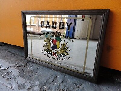 Vintage Framed Paddy Old Irish Whisky Cork Distilleries Picture Wall Mirror